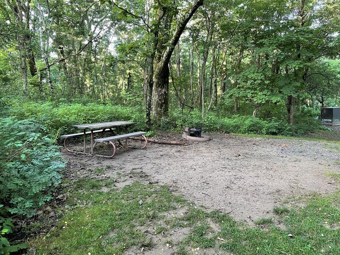 A photo of Site 004 of Loop Upper Loop at Loft Mountain Campground with Picnic Table, Fire Pit, Tent Pad