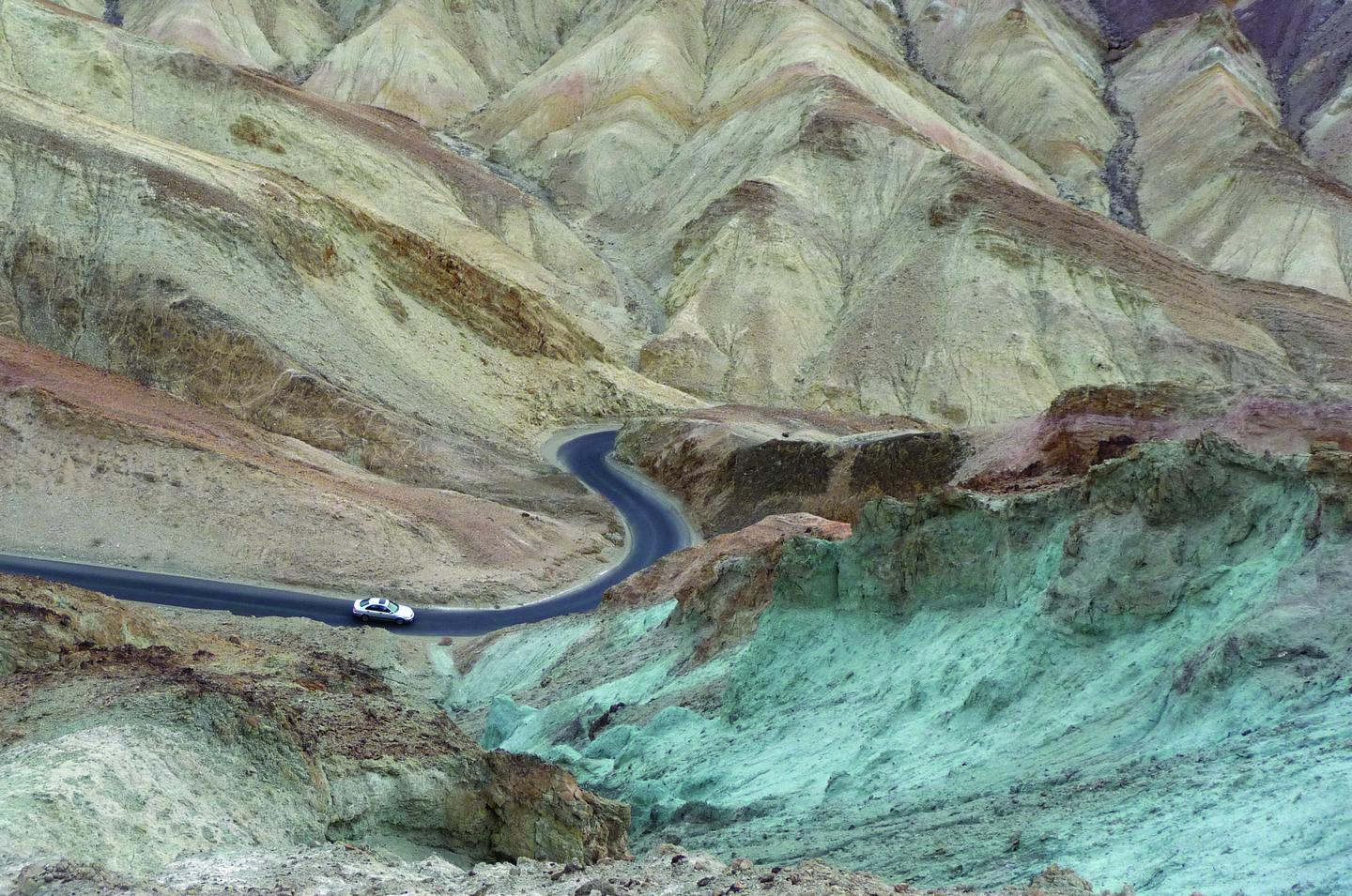 Artists Drive Scenic LoopColors from volcanic deposits rich in compounds such as iron oxides and chlorite, creating a rainbow effect, and a stunning drive through the most colorful geology in Death Valley!