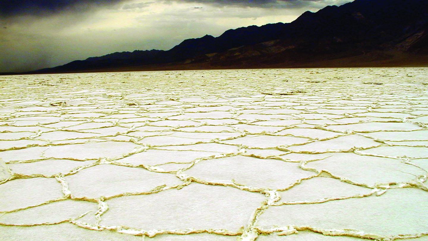 Salt Pan Polygons & Stormy SkyBadwater Basin is the lowest point in North America at 282 feet below sea level.