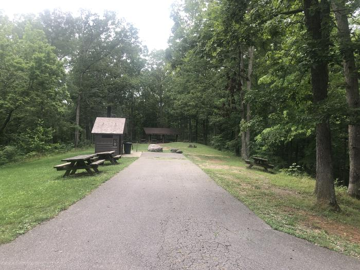 A photo of Site 001 of Loop 2 Point at LAKE VESUVIUS RECREATION AREA with Picnic Table, Lean To / Shelter