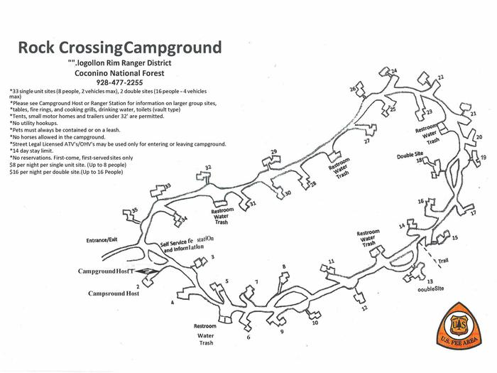 Rock crossing Campground LayoutLayout of Rock Crossing Campground sites