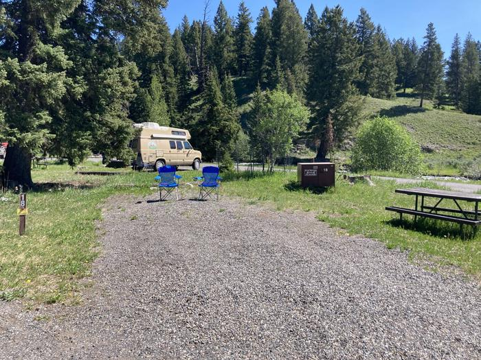 Pebble Creek Campground site #18..Pebble Creek Campground site #18.