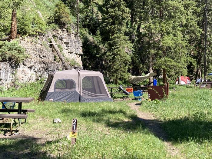 Pebble Creek Campground site #21....Pebble Creek Campground site #21