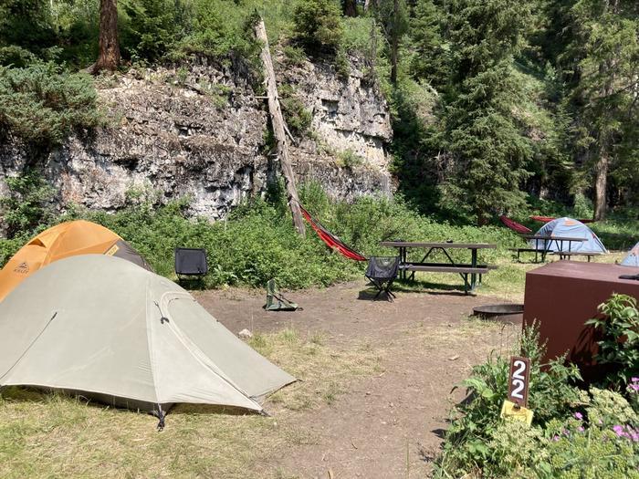 Pebble Creek Campground site #22.Pebble Creek Campground site #22