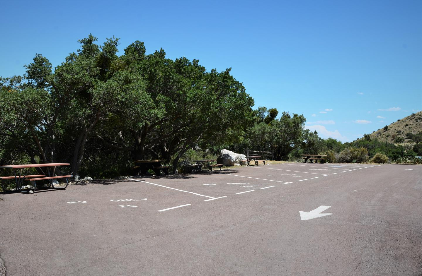Row of 5 RV campsites paved parking with painted lines to delineate each site.  Sites are along a natural area with some trees but they offer little shade to each site.A row of RV campsites.  Site 22 is the second spot from the right end of this photo.