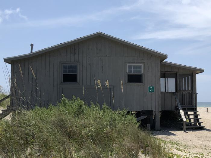 Exterior view of Great Island Cabin 3.  Taken from camp looking towards the ocean.Great Island Cabin 3