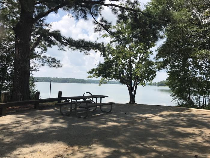A photo of Site 072 of Loop LOOG at Holiday (Georgia) with Picnic Table, Electricity Hookup, Shade, Waterfront, Lantern Pole, Water Hookup