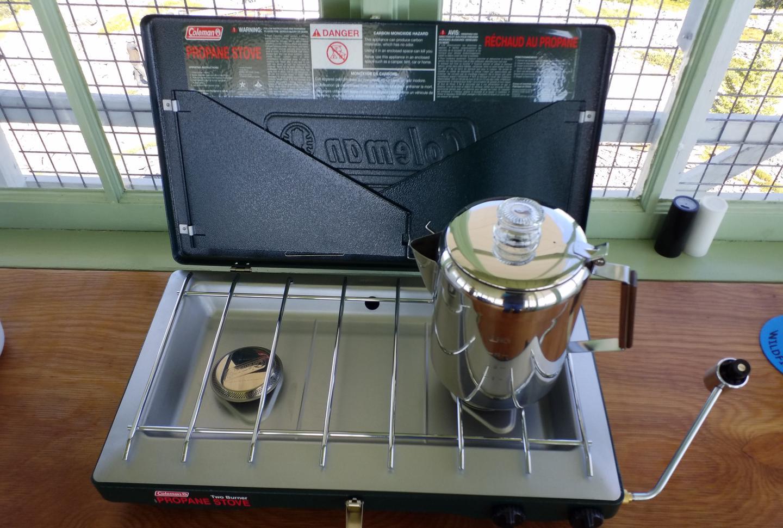 Propane Stove and Coffee Pot