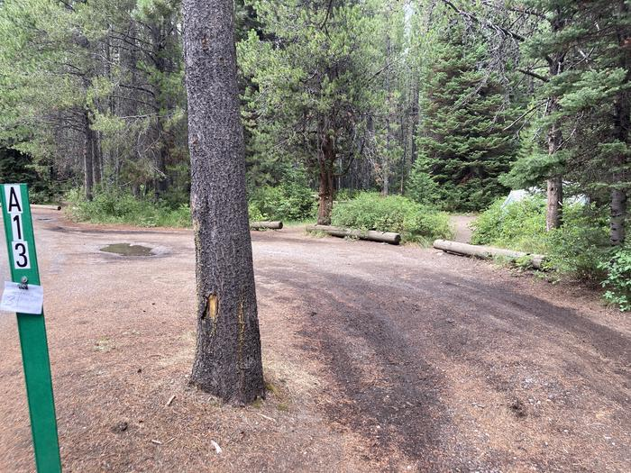 A photo of Site 13 of Loop A at Colter Bay Campground with Picnic Table, Fire Pit, Food Storage