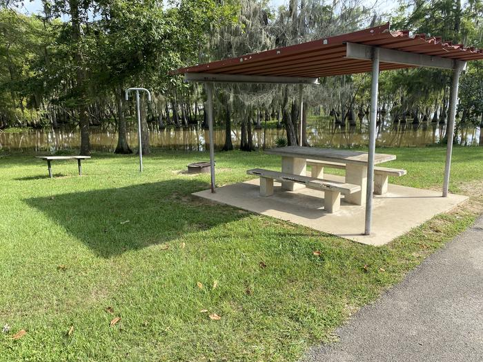 A photo of Site 18 of Loop MAGNOLIA RIDGE  at MAGNOLIA RIDGE with Picnic Table, Fire Pit, Waterfront, Lantern Pole