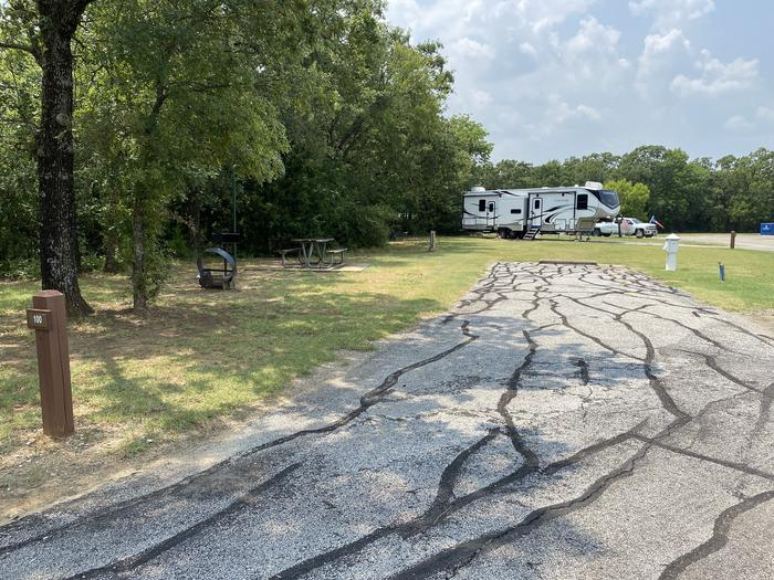 A photo of Site 100 of Loop HICKORY CREEK  at HICKORY CREEK with Boat Ramp, Picnic Table, Electricity Hookup, Fire Pit, Lantern Pole, Water Hookup