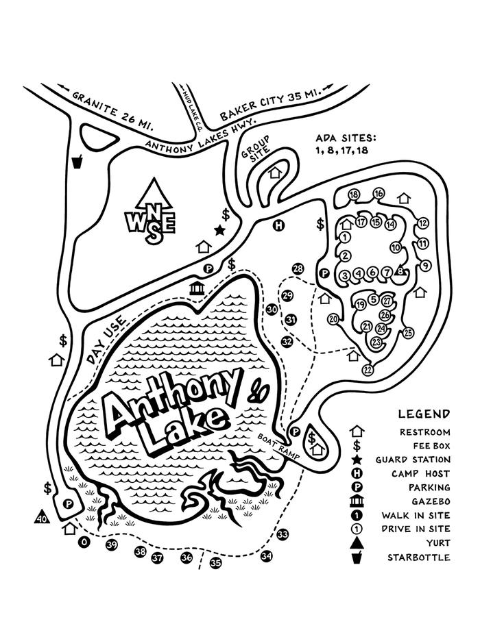 fullmapFull Map of Anthony Lake Campground   We do have First Come First Serve Sites, here is a list of first come first serve sites: Drive In R.V. Sites: 9, 10, 11, 12, 15, 17, 21, 23, 25, 27 Walk up Tent Sites: 28, 29, 30, 31, 32, 33, 34, 35, 36, 37, 38, 39, and site 0