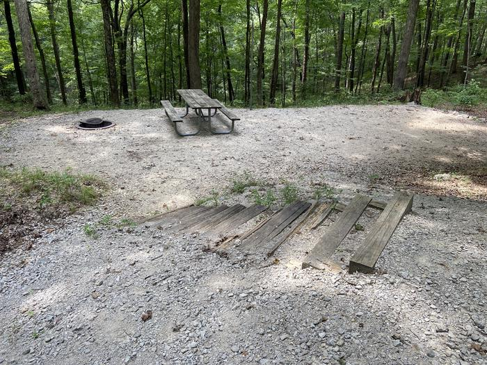 8 steps leading down to the tent pad