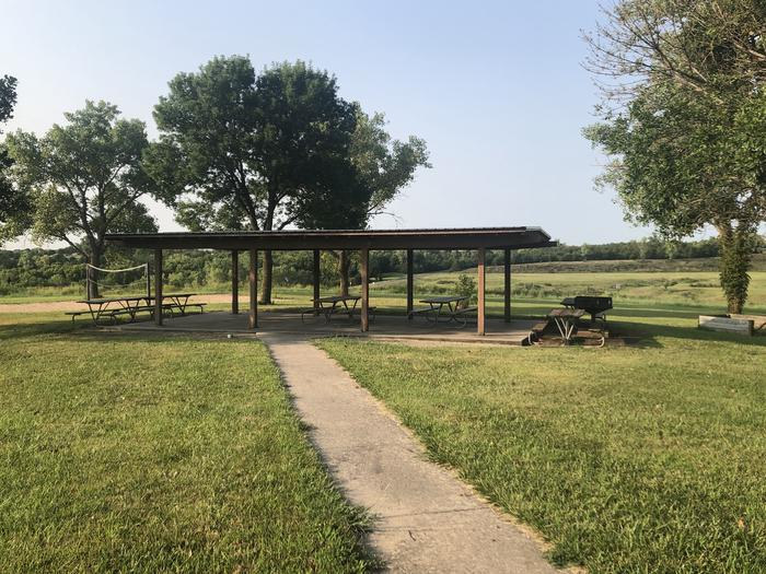 A photo of Site 6 of Loop EAST ROLLING HILLS PARK (KS) at EAST ROLLING HILLS PARK (KS) with Picnic Table, Lean To / Shelter