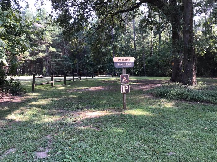 Trailhead parking for the Enoree Passage of the Palmetto Trail at Sedalia Campground.Trailhead parking area for the Enoree Passage of the Palmetto Trail is located adjacent to group campsite 1.