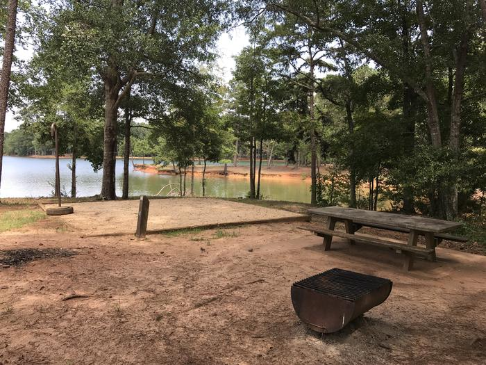 A photo of Site 086 of Loop LOOH at Holiday (Georgia) with Picnic Table, Fire Pit, Tent Pad, Waterfront, Lantern Pole