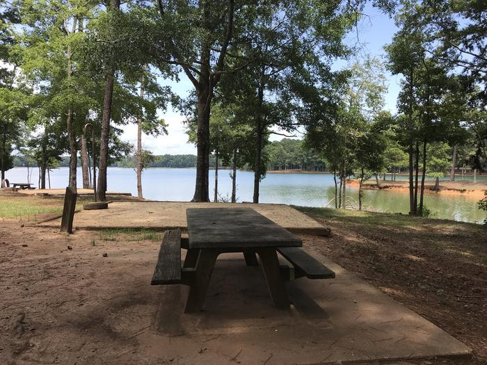 A photo of Site 086 of Loop LOOH at Holiday (Georgia) with Picnic Table, Fire Pit, Shade, Tent Pad, Waterfront, Lantern Pole