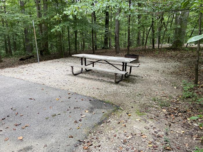 A photo of Site 147 of Loop WOAK at HARDIN RIDGE with Picnic Table, Electricity Hookup, Fire Pit, Shade, Tent Pad, Lantern Pole, Water Hookup