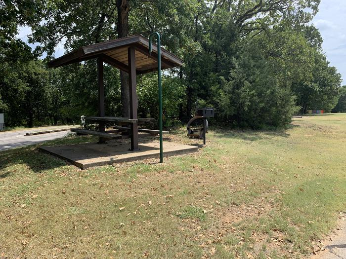 A photo of Site 077 of Loop HICKORY CREEK  at HICKORY CREEK with Picnic Table, Fire Pit, Lantern Pole, Lean To / Shelter