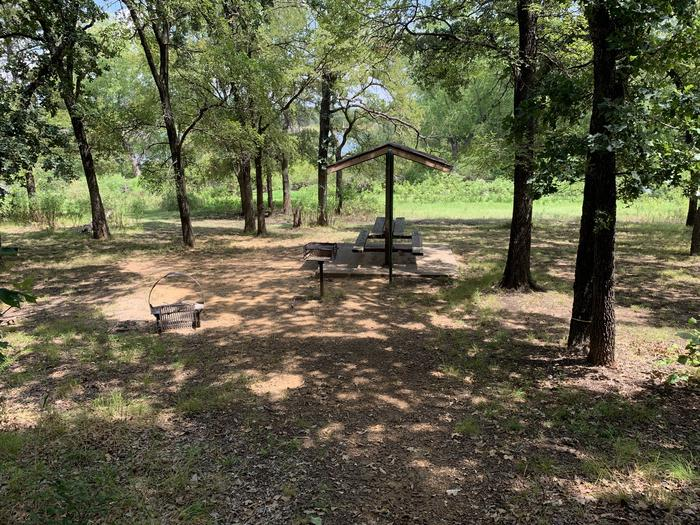 A photo of Site 074 of Loop HICKORY CREEK  at HICKORY CREEK with Picnic Table, Fire Pit, Tent Pad, Lantern Pole, Lean To / Shelter