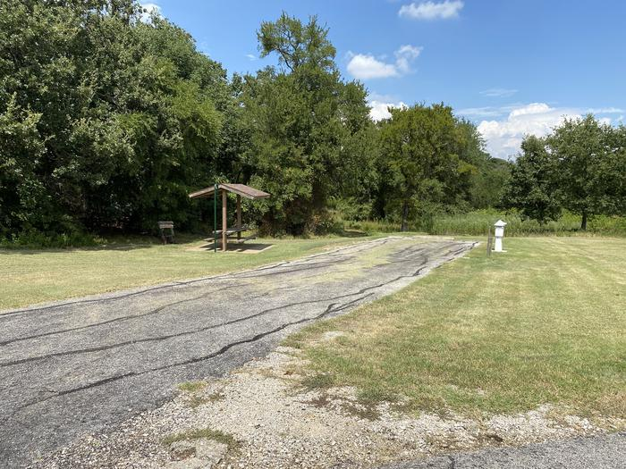 A photo of Site 080 of Loop HICKORY CREEK  at HICKORY CREEK with Boat Ramp, Picnic Table, Electricity Hookup, Fire Pit, Lantern Pole, Water Hookup, Lean To / Shelter