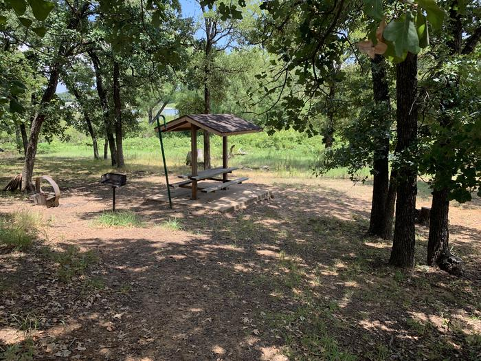 A photo of Site 072 of Loop HICKORY CREEK  at HICKORY CREEK with Picnic Table, Fire Pit, Tent Pad, Lantern Pole, Lean To / Shelter