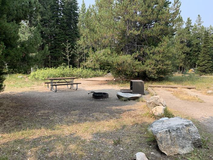 A photo of Site 1 of Loop Jenny Lake at Jenny Lake Campground with Picnic Table, Fire Pit, Food Storage, Tent Pad