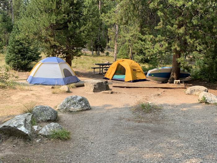 A photo of Site 18 of Loop Jenny Lake at Jenny Lake Campground with Picnic Table, Fire Pit, Food Storage, Tent Pad