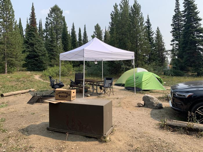 A photo of Site 9 of Loop Jenny Lake at Jenny Lake Campground with Picnic Table, Fire Pit, Food Storage, Tent Pad