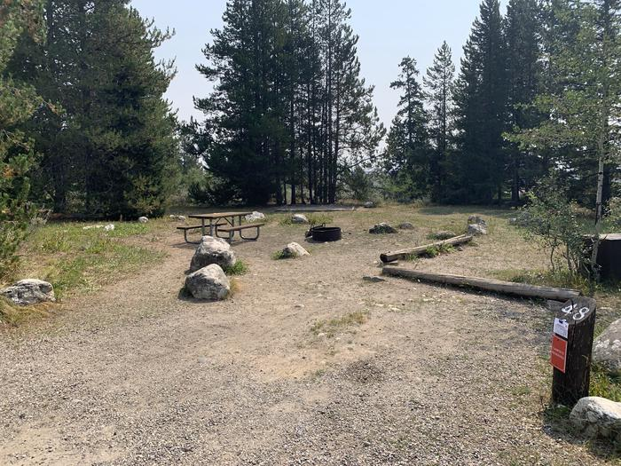 A photo of Site 48 of Loop Jenny Lake at Jenny Lake Campground with Picnic Table, Fire Pit, Food Storage, Tent Pad