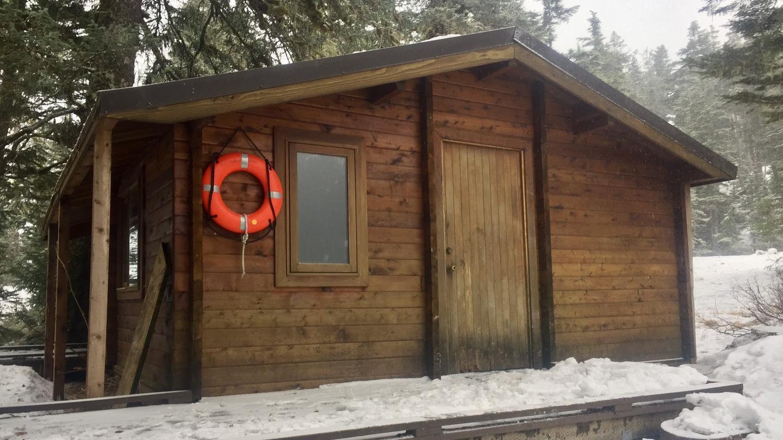 Harrison Lagoon Cabin FrontFront of cabin in winter