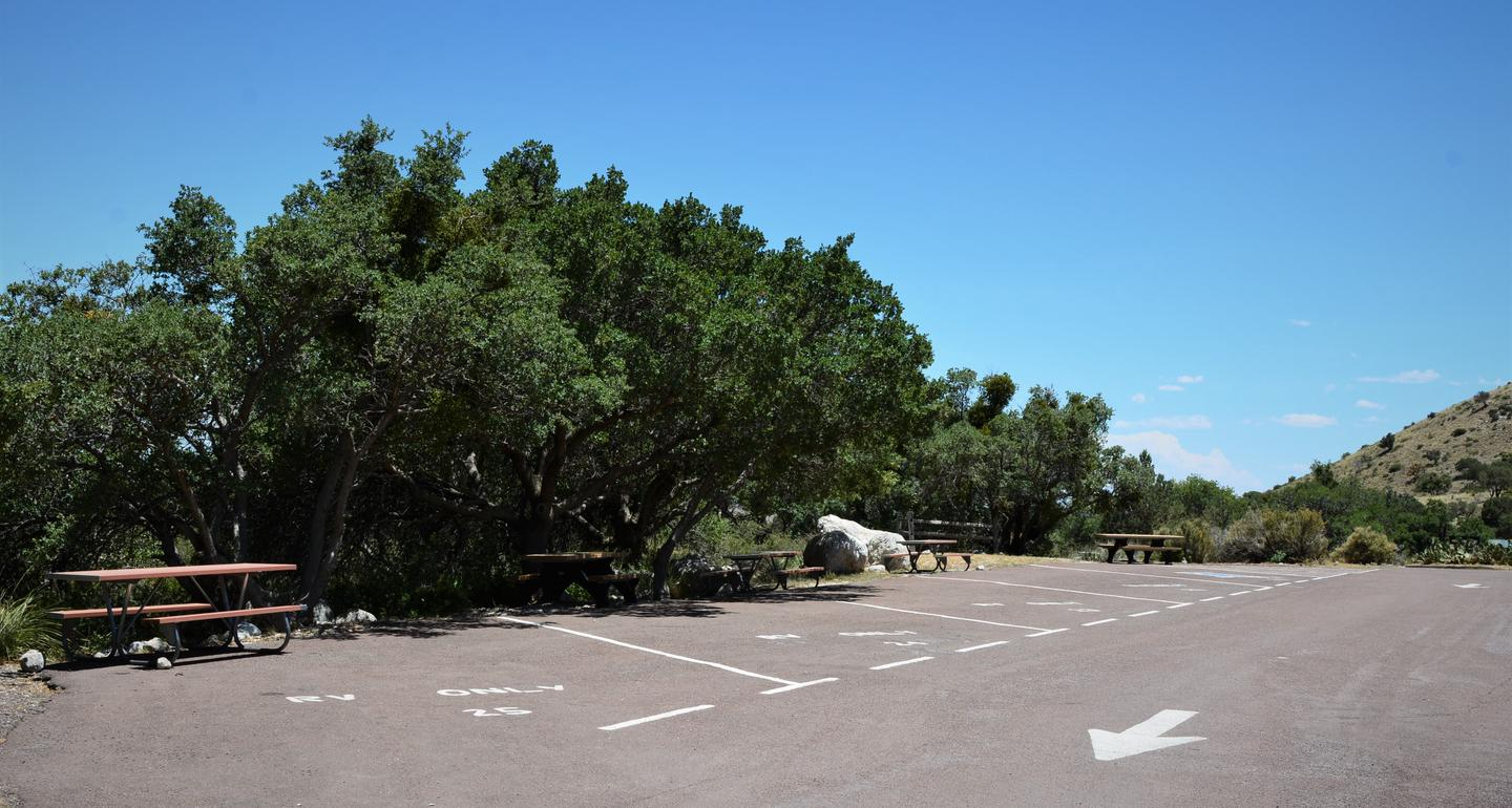 RV campsite 24 is near the in the center of 5 other RV campsites, all sites are paved and delineated by painted lines.RV campsites 21-25.  Site 24 has a campsite on each side.