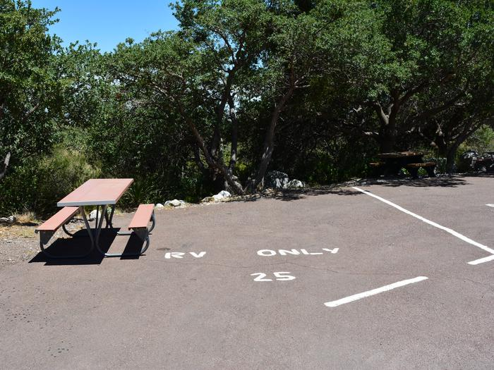 RV campsite 25 is a paved parking spot with trees along the back edge.  A picnic table is located on this site.RV campsite 25 is a paved parking spot with trees along the back edge.