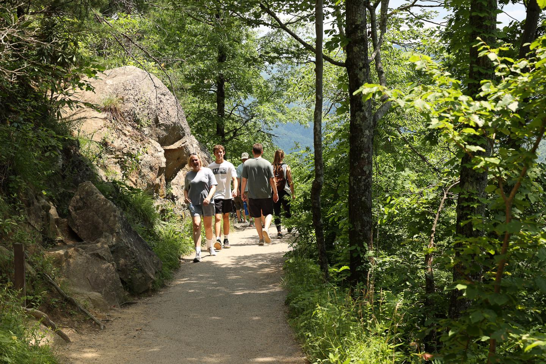 Laurel Falls TrailHikers walk along Laurel Falls Trail