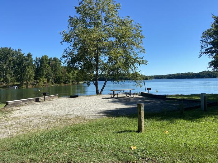 A photo of Site 45 of Loop SPRINGFIELD  at SPRINGFIELD with Picnic Table, Electricity Hookup, Fire Pit, Shade, Tent Pad, Waterfront, Lantern Pole, Water Hookup