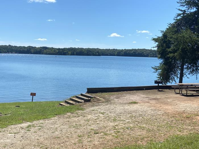 A photo of Site 56 of Loop SPRINGFIELD  at SPRINGFIELD with Picnic Table, Electricity Hookup, Fire Pit, Shade, Tent Pad, Waterfront, Lantern Pole, Water Hookup
