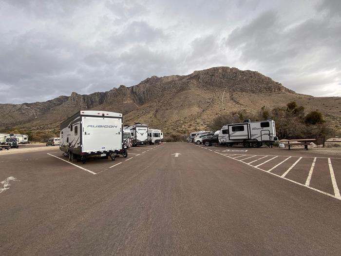 Overview of RV campsites.  RV site 26 is the first site on the left side of the drive. Views of Hunter Peak are in the background.Overview of RV campsites.  RV site 26 is the first site on the left side of the drive.