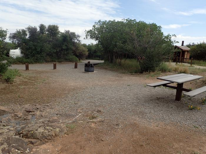 View of Campsite A-008 looking towards road and pull-throughView of Campsite A-008 looking towards road and pull-through.  Please note that the public restrooms can be viewed from within this site.