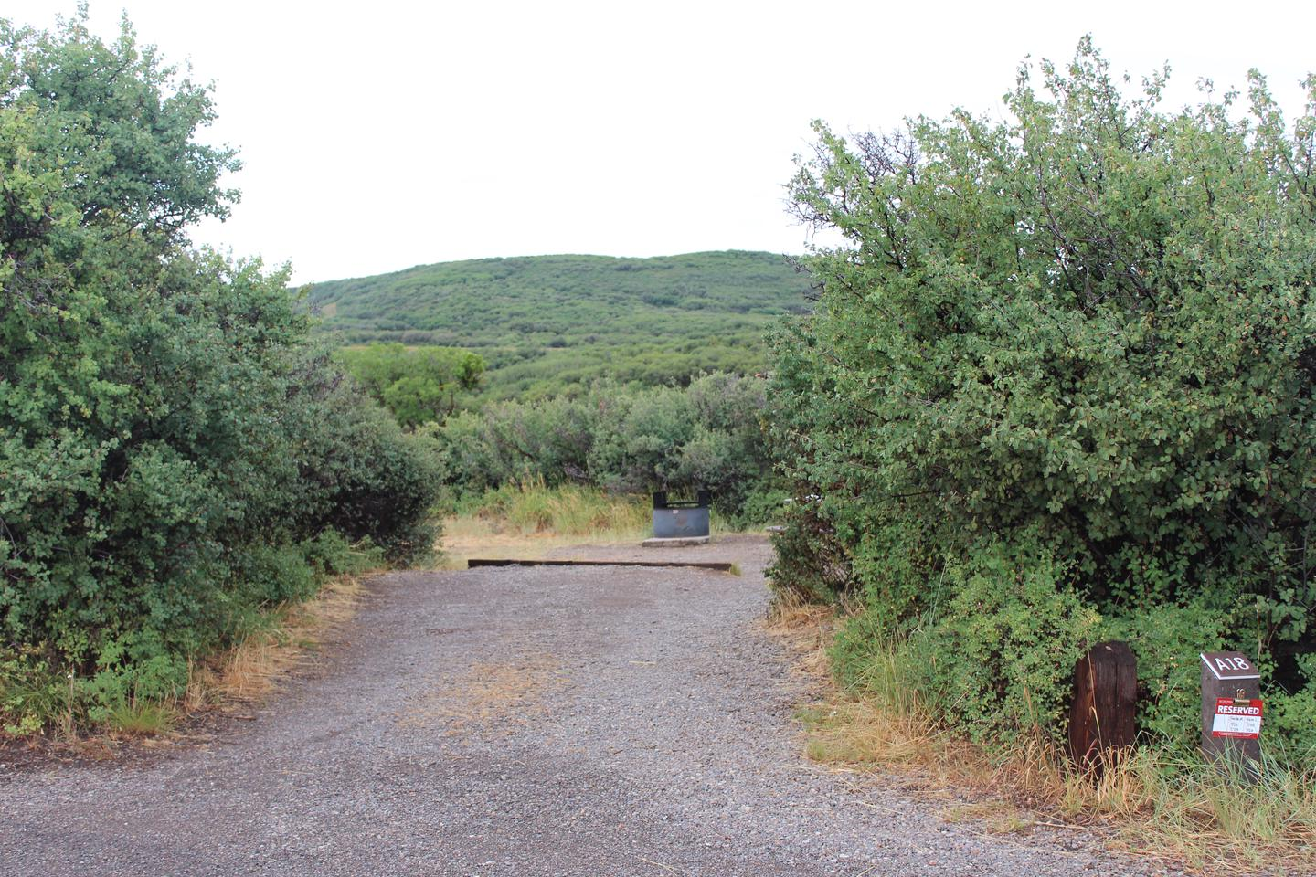 View of parking area within Campsite A-018