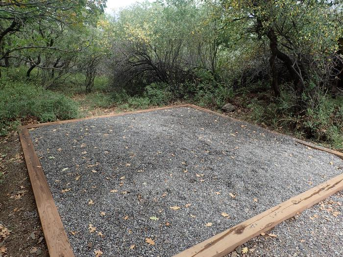View of established tent pad within Campsite B-002