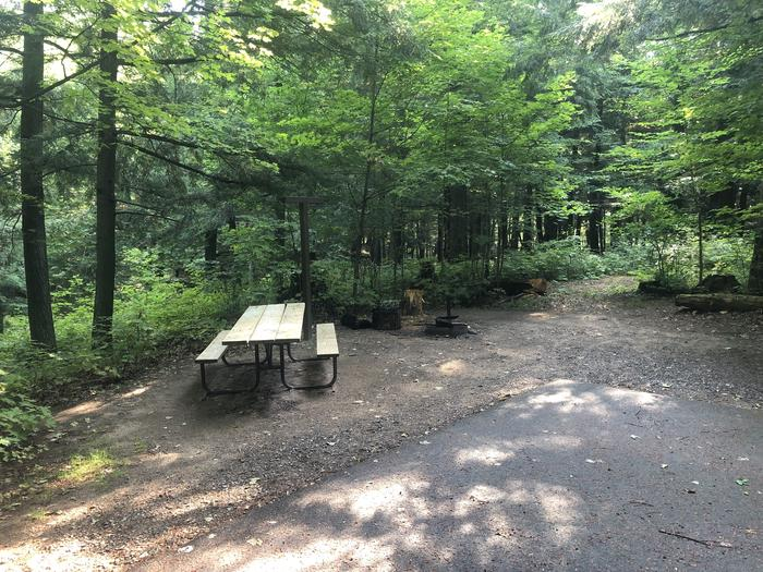 A photo of Site 011 of Loop 1 at Sylvania (Clark Lake) Campground with Picnic Table, Fire Pit, Shade, Lantern Pole