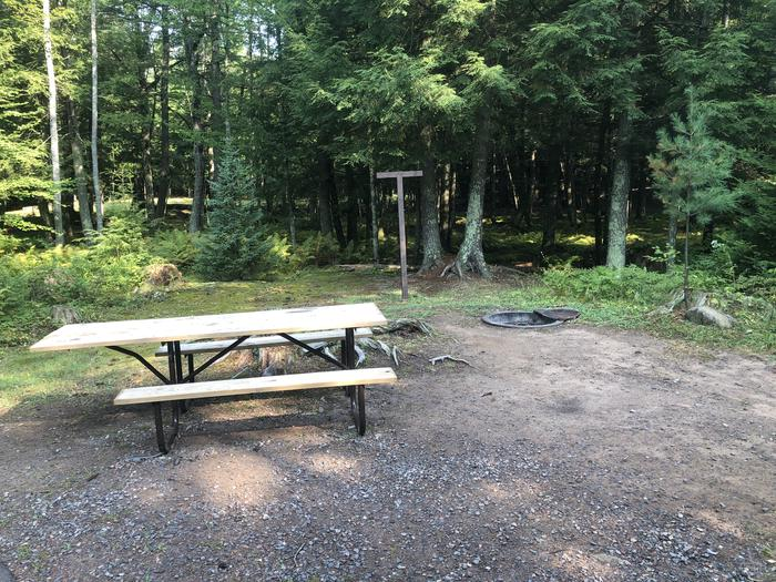 A photo of Site 023 of Loop 2 at Sylvania (Clark Lake) Campground with Picnic Table, Fire Pit, Lantern Pole