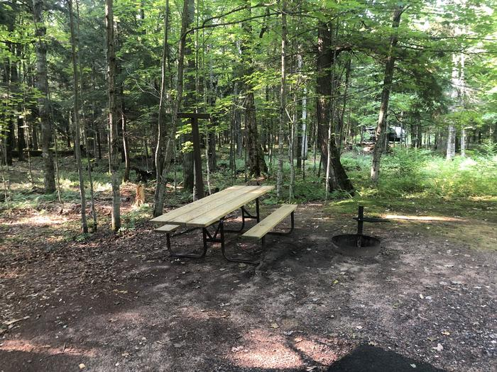 A photo of Site 007 of Loop 1 at Sylvania (Clark Lake) Campground with Picnic Table, Fire Pit, Shade, Lantern Pole