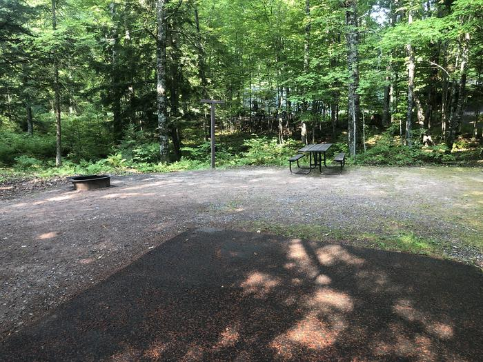 A photo of Site 016 of Loop 2 at Sylvania (Clark Lake) Campground with Picnic Table, Fire Pit, Shade, Lantern Pole