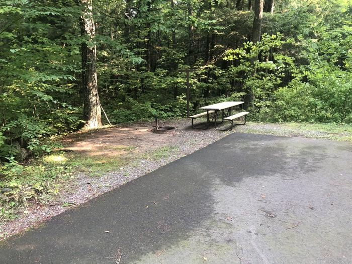 A photo of Site 013 of Loop 1 at Sylvania (Clark Lake) Campground with Picnic Table, Fire Pit, Shade, Lantern Pole