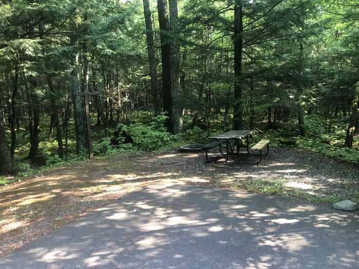 A photo of Site 012 of Loop 1 at Sylvania (Clark Lake) Campground with Picnic Table, Fire Pit, Shade, Lantern Pole