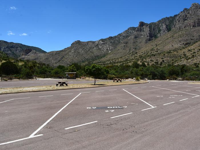 RV campsite 27 is a paved, pull-through site.  This site offers views of the Guadalupe Mountains and Pine Springs Canyon.  RV campsite 27 is a paved, pull-through site.