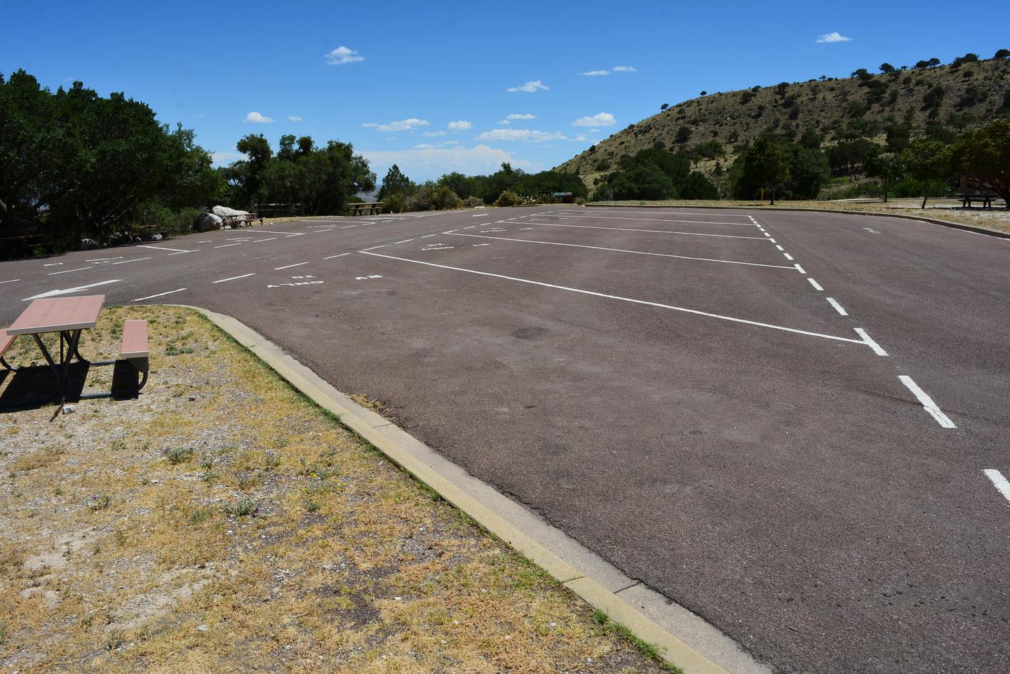 An overview photo of the RV campground with sites 21-30.  Site 30 is shown in the foreground.  A picnic table is available at this site. An overview photo of the RV campground with sites 21-30.