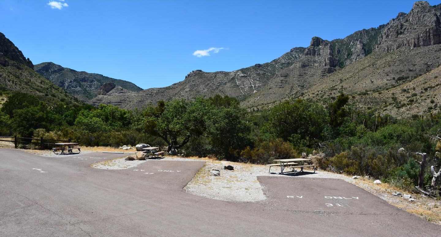 This overview photo shows sites 31, 32 and 33.  Each site offers mountain views and a picnic table.  These site are located steps from the Pine Springs trailhead.This overview photo shows sites 31, 32 and 33.