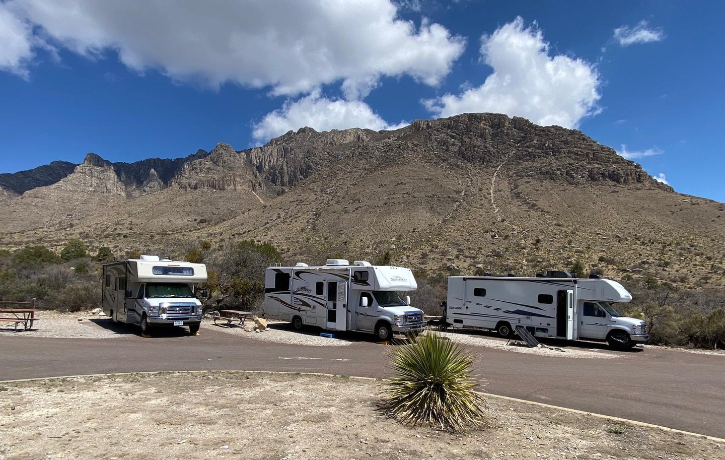 This photo of RV campsites number 31, 32 and 33 show the sites occupied by RVs to demonstrate the size limitations of the site.RV campsites 31, 32 and 33 with each sites occupied by an RV.  These small sites will not hold extra vehicles, etc.